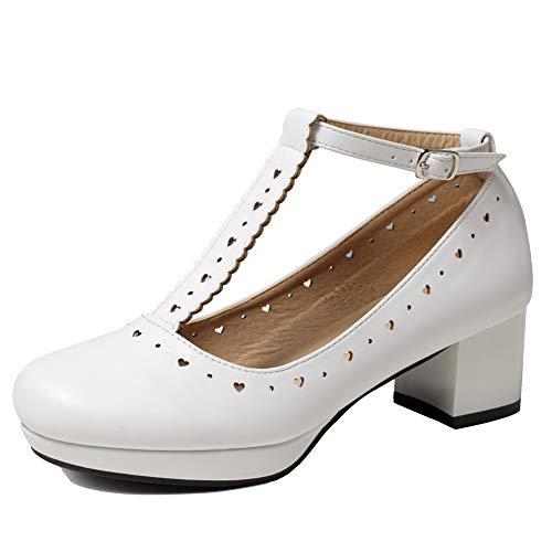 GETMOREBEAUTY Damen Vintage Schuhe Retro Heels T-Straps Block Mary Janes Lolita Schuhe, Weiá (weiß), 37 EU