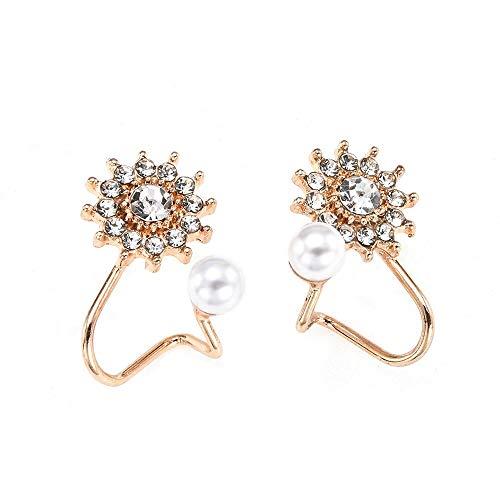 Arete 1 par de Mujeres Dulces, Elegantes Perlas de imitación, Diamantes de imitación, Flor, Pendientes de Chaqueta de Cristal, Dama, Metal, Pendientes de Oro, Pendientes Dorados