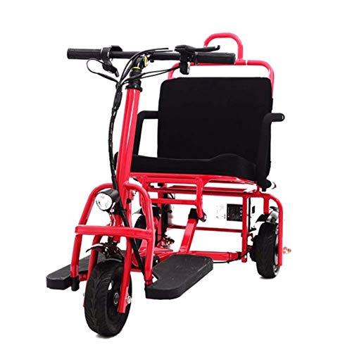 YWX Marco Adulta Triciclo Motorizado De Accionamiento Eléctrico del Triciclo para Adultos Plegable De Acero Asiento Cómodo Y Confortable con La Batería De Litio