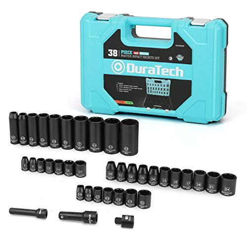 DURATECH 1/2 & 3/8 Inch Drive Impact Socket Set, 38 Piece tools includes Standard (SAE) and Metric Deep/Shallow Sockets,Impact Adapter and Extension Bars