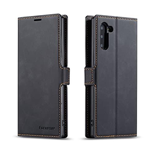 AHUOZ Funda de piel multifunción para Samsung Galaxy Note10, 2 en 1, funda tipo cartera magnética, carcasa inferior de TPU con ranura para tarjeta (color negro)
