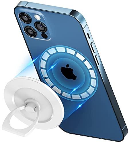 【最新ミルクホワイト】 enGMOLPHY 磁石リングスタンド MagSafe 対応, iPhone 12マグセーフ対応マグネットスマホ フィンガーリングホルダー アルミ合金 脱着式 180度 360度回転式 ホールドリングスタンド,強力磁気吸着 安定感, iPhone 12/12 Pro/12 Pro Max/12Miniに対応マグセーフ対応アクセサリー
