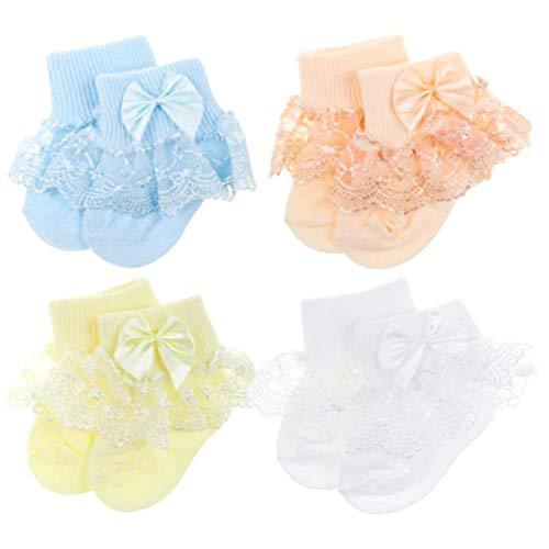 4 Pares Calcetines Bebé Primavera Verano Hoja Loto Encaje Punto Cómodo Lindo Respirable para bebé niña (C)