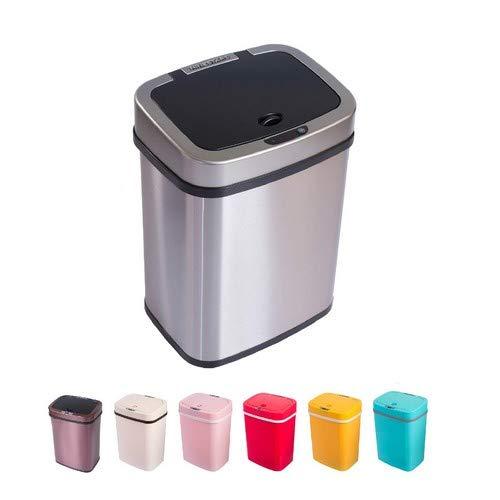 Home&Decorations Cubo de Basura automático con Sensor de 12 litros, Multicolor, Respetuoso con el Medio Ambiente, para Cocina, baño, salón (12 L, Acero Inoxidable)