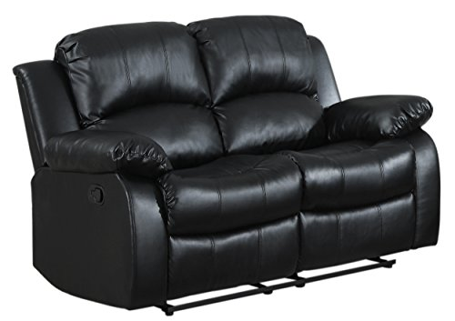 Hot Sale Homelegance Cranley Double Reclining Bonded Leather Love Seat in Black