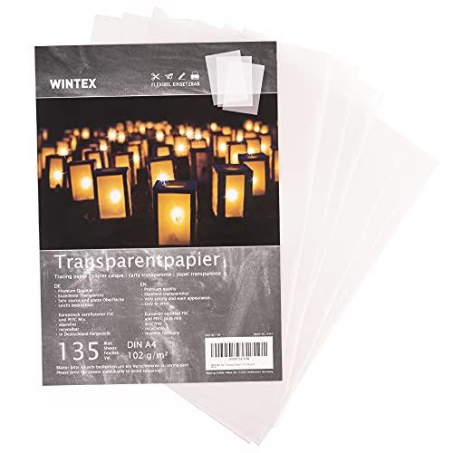 WINTEX - 135 Hojas de Papel Transparente DIN A4 - Papel Translúcido Calco 102 g m2 - Papel Cebolla Acetato para Manualidades - Imprimible Ambos Lados