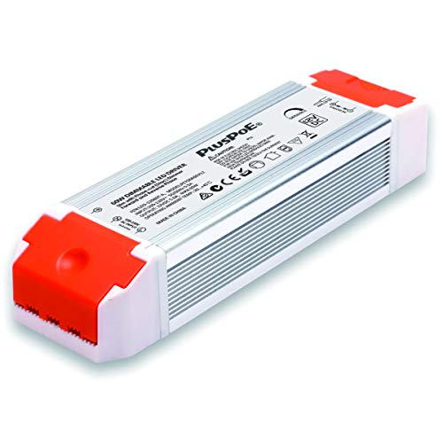 PLUSPOE 60W Dimmable LED Driver, 110V AC-12V DC 5A Transformer Electric Power supply Adapter, 0-100% Dimming, Compatible with Lutron, Leviton Dimmers for LED Tape Cabinet Lighting