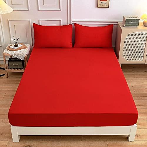 HAIBA Sábanas 100% algodón extra profundas, sábana bajera ajustable de lujo de satén de algodón suave, sábana bajera elástica en colchón de cama doble, rojo, 150 x 200 + 27 cm