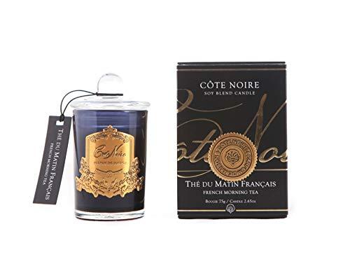 Cote Noire geurkaars Thé du Matin Français - Franse ochtendthee in zwarte glazen pot 75g