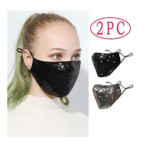 2 Stück Mundschutz mit Motiv Baumwolle, Pailletten Staub mundschutz Atmungsaktive mundbedeckung Stoff Unisex Wiederverwendbare Strass Mundschutz für Erwachsene