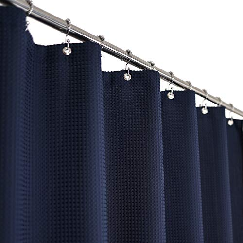 Waffle Weave Shower Curtain Hotel Luxury Spa, 230 GSM Heavy Duty Fabric, Water Repellent, Navy Blue, 71x72 Inch