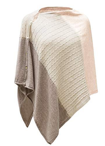 PULI Donne Bottone Maglia Scialle Poncho Cape Cardigan Cashmere/Cashmere Feel Wrap Sciarpa per Primavera Estate Autunno 8 tonalità rosa in cavo. Taglia unica