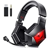 BENGOO MH-1 2.4G Wireless Gaming Headset Headphones for PS4 PS5 PC with Detachable Noise Canceling Mic, Red LED Light, Soft Memory Earmuffs, Battery up to 17 Hrs, Wired Mode for Xbox One Mac Switch