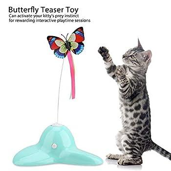 Teaser de jouet de chat électrique rotation papillon lumineux formation jouets de chat jouet de jeu intérieur fournitures pour animaux de compagnie pour chatons chatons exercice jouer à chasser divert