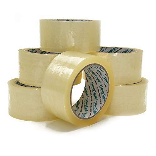 Nastro D'imballaggio Trasparente Da NOVOTAPE 48 mm x 66 m | 6 Convenienti & Facili Per Rivolgersi di Rotoli Per Sigillo Forte, Sicuro & Appiccicoso Per Pacchetti & Scatole