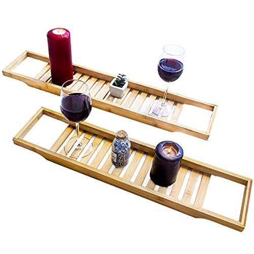 Torrex 30540 Mensola bagno Bamboo in varie dimensioni Vasca da bagno (74 x 15 x 3,5 cm)