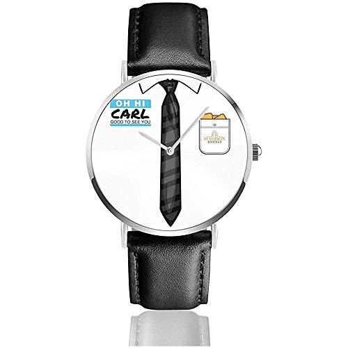 Unisex Billy Madison Oh Hi Carl Relojes Reloj de Cuero de Cuarzo con Correa de Cuero Negro
