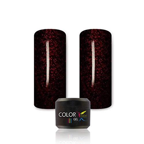 UV LED Farbgel für Nägel schwarz rot glitzer schwarz mit rot glitzer 5ml, Farbgel UV LED, Kolibri COLOR Gel #048,Farbgel Gelnägel, Nageldesign, Nagelgel, Colorgel für Gelnägel