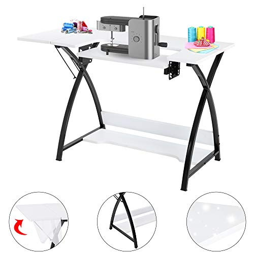 TUFFIOM 46-Inch Sewing Craft Table, Specialized Sewing Machine Shelf, Enlarged Cutting Space, Sturdy Multifunctional Computer Desk with Storage, Adjustable Height, Ideal for Home Indoor Use