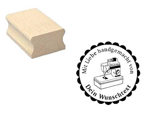 Holzstempel Motivstempel Stempel « Mit Liebe handgemacht » mit persönlichem Wunschtext/Wunschnamen und Motiv Nähmaschine - Scrapbooking Embossing Basteln - Handarbeit handmade