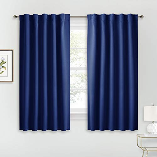 RYB HOME Bathroom Curtains Privacy - Solid Thermal Insulated Window Curtains Kitchen Curtain for Living Room Baby Nursery Bedroom, Back Tab Top, Wide 42 x Long 54, Navy Blue, 2 Panels