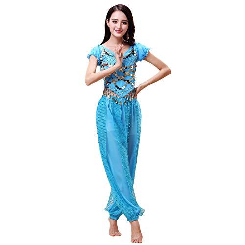 Aiweijia Damen Bauchtanz Kostüm Set 2 Stück Chiffon Indisch Arabisch Prinzessin Outfits Laternen Ärmel Oben Harem Hose