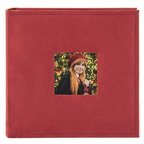 Golden State Art, Wedding Family Baby Holiday Photo Album Christmas, Vacation, Anniversary Photography Book for 200 4x6 Pictures Pockets with Memo, 2 Per Page Large Capacity Red Suede
