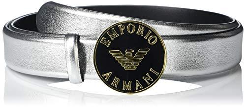 Emporio Armani Damen Metallic Leather Belt Gürtel, Silber, 80 cm