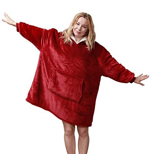 softan Sherpa Hoodie Sweatshirt Decke, super weiche warme gemütliche Riesen Hoody große Vordertasche eine Größe für alle,Rot