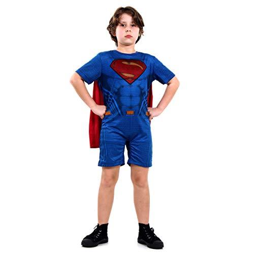 Super Homem Curto Infantil Sulamericana Fantasias Azul/Vermelho M 6/8 Anos