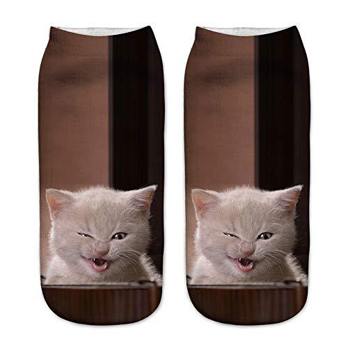BaZhaHei Damen Mode Bequem Socken Winter Warm Neue Arbeit Business Socken 3D Cute Cat Printing Medium Sportsocken Weihnachten Festlicher Weihnachtssocken