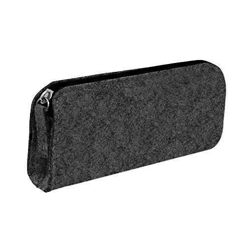 Pencil Pouch, WWCY Large Felt Pencil Organized Case Bag for Girls Boys (Dark Gray)