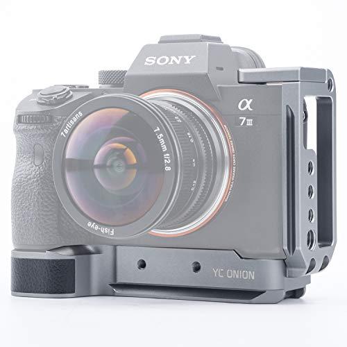 YC Onion L Bracket/L Placa/L Soporte para Sony A7 III A7 R III A7 MIII con Placa Arca Swiss de Liberación Rápida Zapata Fría Llave Hexagonal Moneda en Y Aleación de Aluminio Negro Mate