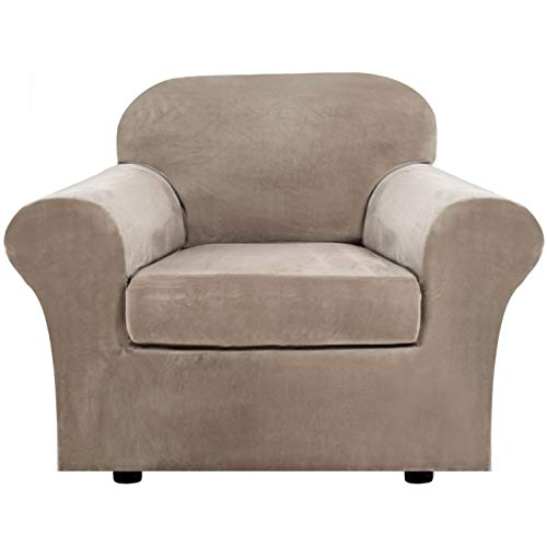 Rich Velvet Stretch 2 Piece Chair Cover Chair Slipcover Sofa Cover Furniture Protector Couch Soft with Elastic Bottom Chair Couch Cover with Arms, Machine Washable(Chair,Taupe)