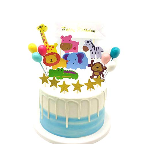 Selva Temática Animales de Pastel Toppers, Decoraciones de Pasteles de Cumpleaños para Infantiles Niños con Arcoiris y Globos, Adornos para Fiestas, Bodas, Aniversarios y Baby Shower