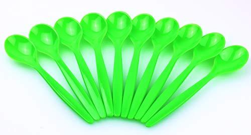 Die schönen Dinge Juego de 10 cucharas de plástico para huevos, para postre, para niños y bebés, en embalaje verde desechable (verde, 1)