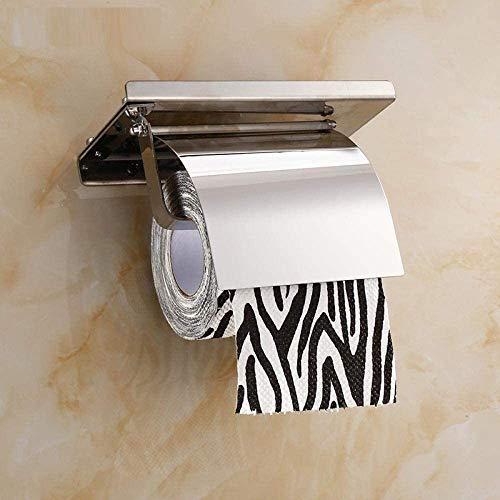 Nfudishpu Kommerzielle Toilettenpapierhalter Prägnanter Toilettenpapierhalter für die Wandmontage Badezimmer 4-Farben-Halterung Edelstahlrollenpapierhalter mit Telefonregal mit Baf