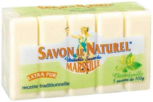 Savon Le Naturel Seife, Seife aus Marseille, extra pur, Geißblatt, 5 Stück – 100 g
