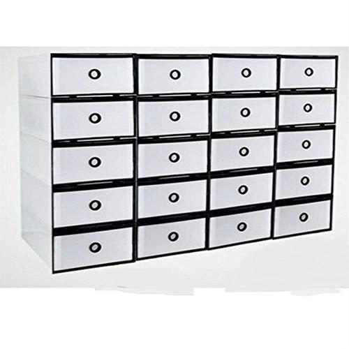 TFCFL 20 cajas de almacenamiento apilables tipo cajón, de plástico, borde negro, para zapatos, revistas, libros