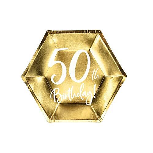 Party Deco Lot de 6 Assiettes en Papier dorées pour 50e Anniversaire 20 cm x 6