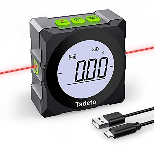 Tadeto Inclinómetro Digital Protractor 4 * 90°, Buscador de Ángulo Transportador Base Medidor de Ángulos con LCD Pantalla, Base Magnética con Líneas de Marcado Láser