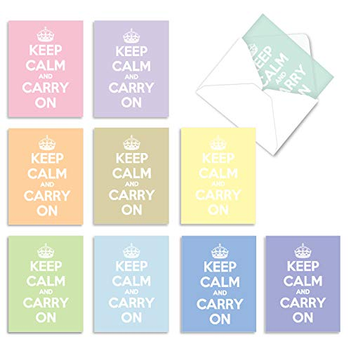 10 'Calm and Colorful' Note Cards with Envelopes 4 x 5.12 inch, Assorted Blank Greeting Cards with Trendy Keep Calm Theme, All Occasion Stationery for Weddings, Baby Showers, Birthdays M9638OCB