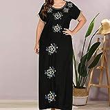 XYZMDJ Vestido largo negro de talla grande para mujer, vestido largo de encaje...