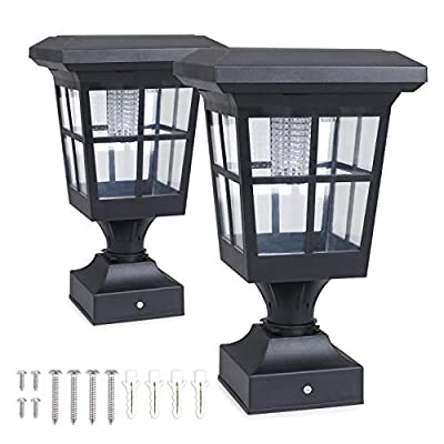 """Solar Fence Post Light Solar Deck Light Solar Post Cap Light Solar Patio Light 30 LUMENS ST4662QFX2 fit for 3.7X3.7"""" Regular Fence Posts or with Included Adaptor fit for Bigger Flat Surface"""