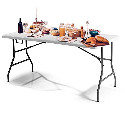 GOPLUS Klapptisch Campingtisch Gartentisch Falttisch Esstisch Beistelltisch Markttisch weiß (152 x 72 x 74 cm)