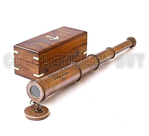 Vintage Copper Finish Telescope with Wooden Box Marine Gift London 1917