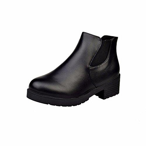 Yesmile Zapatos de mujer❤️Zapatos Botines Chelsea de tacón bajo con tacón Plano de Mujer de Cuero