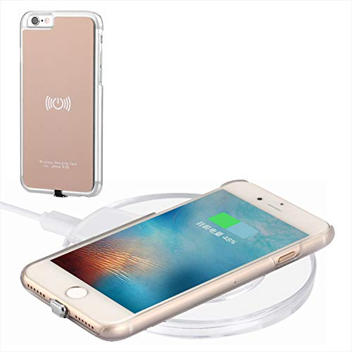 Caricabatterie Wireless Kit per iPhone 6 / iPhone 6S, Hanende Qi Wireless Charging Pad e Ricevitore Wireless Custodia per iPhone 6 / iPhone 6S (Oro)