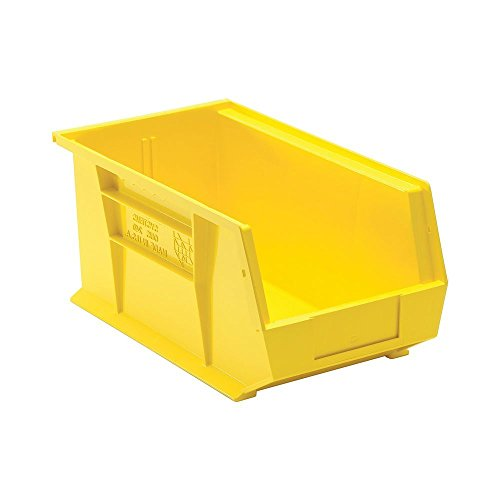 Quantum Storage Systems QUS240 Plastic Storage Stacking Ultra Bin 14-Inch by 8-Inch by 7-Inch Yellow Case of 12 QUS240YL
