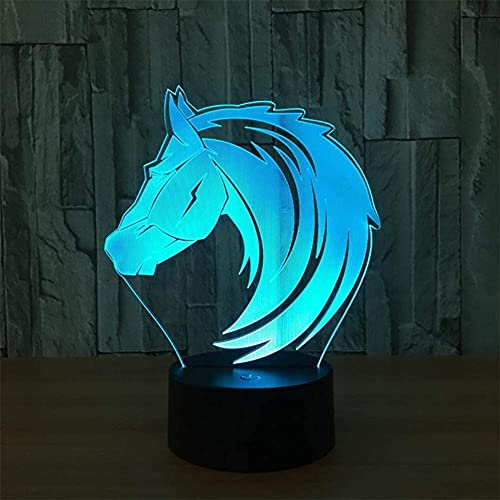 Lámpara de luz nocturna LED 3D, lámparas de regalo creativas con personalidad de caballo, lámparas decorativas, luces USB de 7 colores